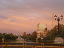 Dambovita river seen from Ciurel bridge in Bucharest, at twilight Royalty Free Stock Photo