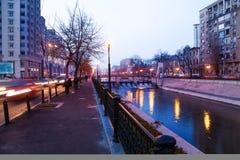 Dambovita river, splaiul Independentei, Bucharest Royalty Free Stock Photo