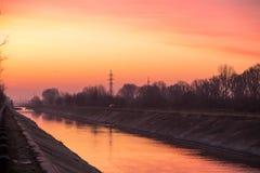 Dambovita river sunset Royalty Free Stock Photo