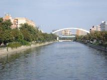 Dambovita river in uptown Bucharest Royalty Free Stock Images