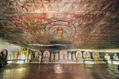 Dambulla cave temple. Mural painting of the Buddha on cave ceiling Royalty Free Stock Images