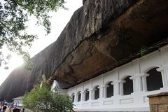 The Dambulla Cave Temple, under an overhanging rock. The largest royalty free stock image