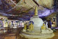 Cave of the Great Kings in Dambulla cave temple, Sri Lanka. Dambulla, Sri Lanka - August 14, 2017: Interior of the cave of the Great Kings. Dambulla cave temple royalty free stock photo