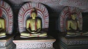 DAMBULLA, SRI LANKA - FEBRUAR 2014: Sitzende viele und stehendes Buddhas am goldenen Tempel von Dambulla Der goldene Tempel von D stock footage