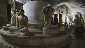 DAMBULLA, SRI LANKA - FEBRUAR 2014: Sitzende viele und stehendes Buddhas am goldenen Tempel von Dambulla Der goldene Tempel von D stock video footage