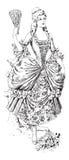 Dame à la mode de victorian avec la robe de ventilateur et de bille illustration de vecteur