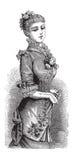 Dame à la mode de victorian avec la robe de ventilateur et de bille illustration libre de droits