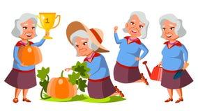 Dame âgée asiatique pose le vecteur réglé Les personnes âgées Plantation des tomates Personne supérieure âgé Retraité caucasien S illustration stock