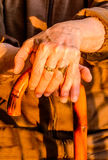 Dame âgée avec le Caïn photo stock