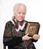 Dame âgée avec le graphisme image stock