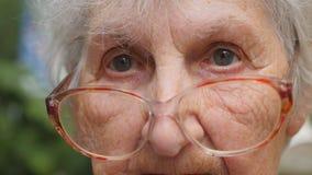 Dame âgée dans des lunettes tournant sa tête et regardant dans l'appareil-photo Lunettes de port de mamie dehors Portrait de banque de vidéos