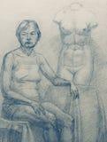 Dame âgée et torse Venus illustration stock