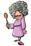 Dame âgée fâchée de dessin animé avec une cuillère en bois Photo libre de droits