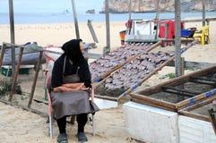 Dame âgée garde les poissons courants Image stock
