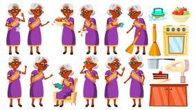 Dame âgée indienne en Sari Poses Set Vector Les personnes âgées indou Asiatique Personne supérieure âgé Grand-parent gai illustration stock