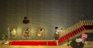 Dame âgée marchant vers le haut des escaliers Photographie stock