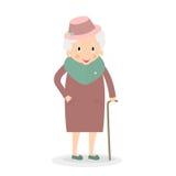Dame âgée mignonne avec le bâton de marche Grand-mère dans le chapeau Dame supérieure sur la promenade Vecteur, illustration Images stock