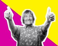Dame âgée montrant le signe correct - collage de mode d'art Photos stock