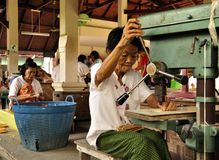 Dame âgée travaillante Image stock