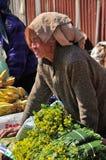 Dame âgée vendant les produits agricoles Images stock