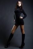 Dame étonnante dans la robe noire Image stock