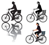 Dame auf Fahrrad Stockbild