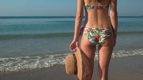 Dame in bikini, overzeese achtergrond stock video