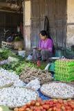Dame birmanne se vendant au marché, Myanmar Images stock