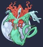 Dame blanche de bande dessinée de vecteur jolie chantant avec la lune illustration stock