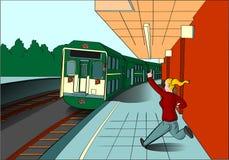 Dame blonde manquant son train illustration stock