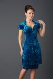 Dame In Blue Stockbild