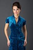 Dame In Blue Stockfotos