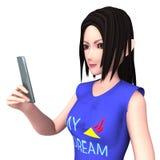 Dame CG und Handy Stockfoto