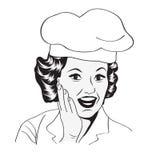 Dame Chef, retro illustratie Stock Afbeeldingen