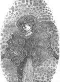 Dame With Curls und Verriegelungen Lizenzfreies Stockfoto