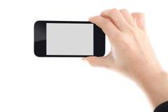 Dame d'affaires tenant le téléphone intelligent image libre de droits