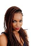 Dame d'afro-américain regardant in camera image stock