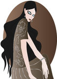 Dame de brune avec les yeux en verre Photographie stock libre de droits