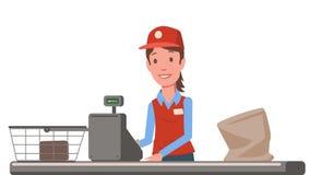 Dame de caissier à la caisse de sortie de supermarché Vendeuse d'épicerie Animation plate D'isolement sur le fond blanc illustration stock