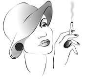 Dame de dessin de Black&white avec la cigarette dans un chapeau illustration libre de droits
