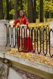 Dame in de herfstbos Stock Afbeeldingen