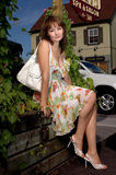 Dame in de kleine stad Stock Afbeeldingen