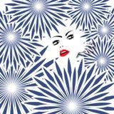 Dame in de Stekelige Bloemen Royalty-vrije Stock Afbeelding