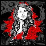 Dame de style de cru jeune avec des roses - vecteur illustration stock