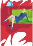 Dame in de woonkamer royalty-vrije illustratie