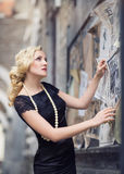 Dame in der Retro- Art Stockfoto