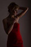 Dame in der roten Aufstellung für fashio Lizenzfreies Stockbild