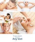 Dame, die Badekur erh?lt Verschiedene Bilder von den Frauen, die im Badekurort sich entspannen Gesundheit, Erholung und massieren stockfotografie