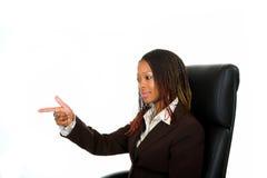 Dame, die Finger zeigt lizenzfreies stockbild
