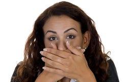 Dame, die ihren Mund shuting ist Stockbilder